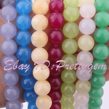 """12mm Round Smooth Jade Gemstone Spacer For Jewelry Making Beads 15"""" Pick Color"""