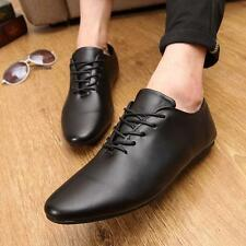 fashion mens dress formal lace up pointy toe flat loafer casual shoes oxford