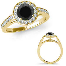 1 Carat Black Round Diamond Fancy Solitaire Halo Promise Ring 14K Yellow Gold