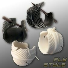 Carved Feather Earrings american buffalo horn bone tribal ethno indians native
