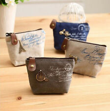 Classic Canvas Tower Purse Card Key Coin Bag Zipper Pouch Holder Student Wallet