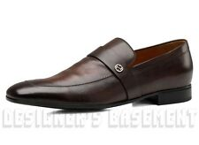 GUCCI mens* brown leather FARAMIR metal Interlocking G Loafers shoes NIB Authent