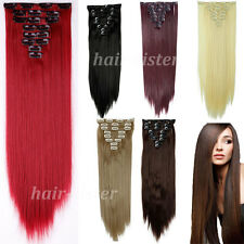 Clip In Hair Extensions Long Curly Wavy Straight Full Head Hair Extentions ht96