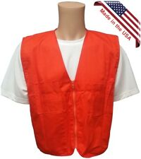 Orange Plain Safety Vests with Zipper Closure and 4 Pockets