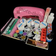 9W UV Gel Lamp Dryer 6 Glitter NAIL ART Buffer Manicure TIPS Brush SET KIT