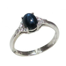 AWESOME 1.5 CT GENUINE AFRICAN STAR SAPPHIRE 925 STERLING SILVER RING SIZE 5-10