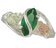 Black Hills Gold .925 Silver Green Mt St Helens Marquise 12k Leaves ring sz 4-10