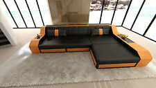 Modern Sectional Sofa AREZZO L-Shaped with LED Lights black orange