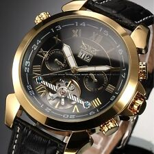 Luxury Mens Gold Case Date Day Leather Sport Automatic Mechanical Wrist Watch