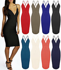 Ladies Bodycon Bralet Midi Wiggle Womens Criss Cross Strappy Sexy Dress 6-16