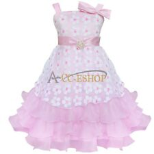 Pink pearl Flower Girl Princess Kid Party Pageant Wedding Bridesmaid Tutu Dress