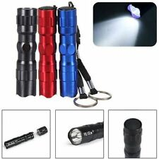 Mini 3W Police LED Flashlight Light Lamp Torch Clip Keyring Waterproof  Keychain