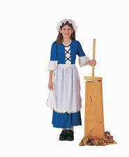 COLONIAL GIRL COSTUME CHILD PEASANT PILGRIM PIONEER PRAIRIE BLUE COSTUMES BONNET