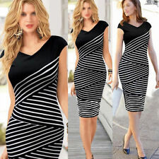 Stripe Bodycon Bandage Pencial Dress Women Sexy Evening Cocktail Maxi Ball Gown