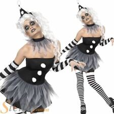 Ladies Sinister Pierrot Clown Costume Circus Halloween Fancy Dress Womens Outfit