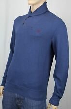 Polo Ralph Lauren Blue Shawl Collar Sweater Suede Elbow Patches NWT $145