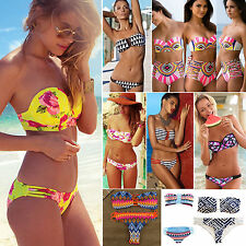 Women's Floral Bandeau Strapless Swimwear Push-Up Padded Bra Bikini Set Swimsuit