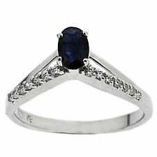 925 Sterling Silver 0.6ct Natural Dark Blue Sapphire & White CZ Ring