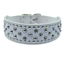Crystal Studded Collar Big Wide Pu Leather Dog Collar Large Size Pet Products