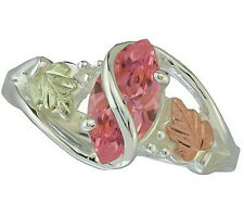Black Hills Gold Sterling Silver w Mt St Helens Pink Marquise ring sz 4-10