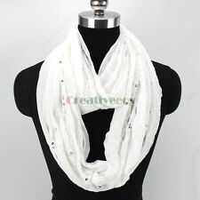 Fashion  Cotton With Shiny Embroidery Sequins Fringe Oblong Scarf/Infinity Scarf