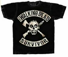 Adult Men's The Walking Dead AMC TV Show Survivor Skull Black T-Shirt Tee