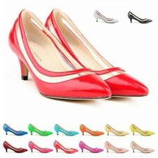 Womens' Sexy Classic Mid Kitten Heels PU Patent Leather Pointed Pumps Shoes