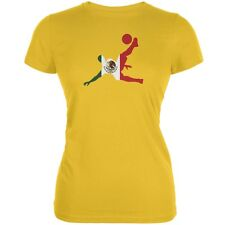 World Cup Mexico Soccer Kick Flag Silhouette Bright Yellow Juniors Soft T-Shirt