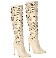 Red Kiss Beige Studded Knee High Boots High Heel Shoe Pointy toe Women's Shoes
