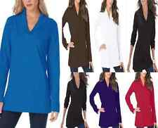 """NEW """"ROAMAN'S"""" Ultimate Knit Long Sleeve Multi Color Shawl Collar Tee (S TO 5X)"""