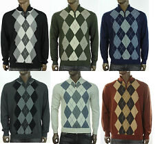 NEW MENS TASSO ELBA HALF ZIP ARGYLE COTTON PULLOVER SWEATER