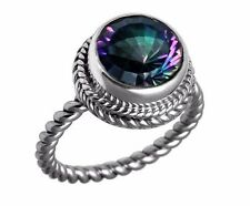 5ct. Round Mystic Topaz Solitaire 925 Sterling Silver Twisted Band Ring 6 8