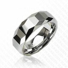 8mm Tungsten Carbide Ring Prism Facet Polished Band