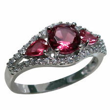 BEAUTIFUL 1 CT THREE STONE RUBY 925 STERLING SILVER RING SIZE 5-10