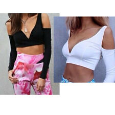 Sexy Women Crop Tops Lo Shi Strapless Long Sleeve V-Neck Slim Y-Shaped Opening