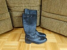 "Women's Winter Boots Black Knee High With Detail Buckles 1.5"" heel Size 6"