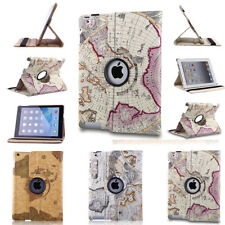 Map Folio Stand PU Leather Smart Cover Case For Apple iPad 2/3/4 /mini/Air/ Air2