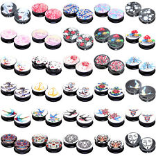 """30 Hot Styles"" 22mm 24mm 26mm 28mm 30mm Acrylic Flesh Tunnels Black Ear Plugs"