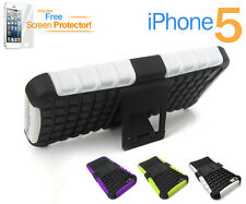 iPhone 5 Tough Heavy Duty Dual Layer Anti-Shock Case Cover Kick Stand For Apple