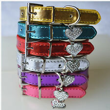 Adjustable Leather Dog Collar With Rhinestone Heart Collar Charm Small Pet Dogs