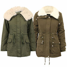 Ladies Parka Jacket Brave Soul Womens Coat Quilted Padded Sherpa Military Winter