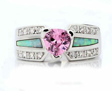 Exquisite Jewelry Opal Pink Sapphire White Gold Filled Ring 10KT Women Size 6-10