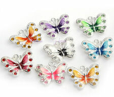 5/20/50Pcs Silver Plated Enamel Crystal Butterfly Charms Pendant Finding