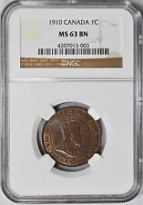 1910 One Cent Canada NGC MS-63 BN Mint State 1c Penny