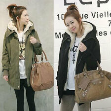 Warm Winter Women Korean Fleece Hooded Parka Coat Overcoat Long Jacket Outwear