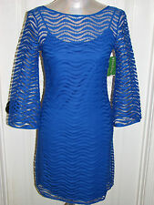 NWT LILLY PULITZER TOPANGA DRESS SAPPHIRE BLUE WAVEY KNIT LACE XXS,XS,M,L,XL