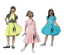 CHILD GIRLS PINK / YELLOW / BLUE POODLE DRESS WITH SCARF FANCY DRESS COSTUME