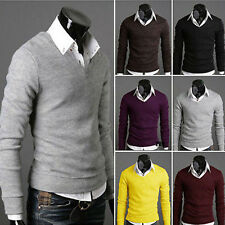 Mens V-neck Slim Fit Long Sleeve Knitted Cardigan Pullover Jumper Sweater Coat
