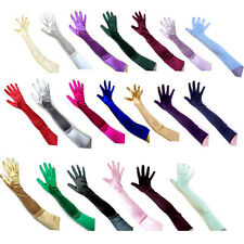 "23"" Long Stretch Satin Bridal Wedding Opera Gloves Halloween Costume Dance Prom"