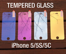 Colored Tempered Glass Reflective Mirror Screen Protector For iPhone 5 5S 5C 5G